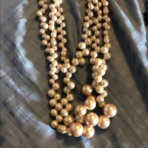 Stella & Dot Jewelry - Two necklaces, black and off white/pinkish pearls